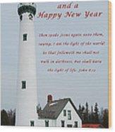 Merry Christmas Lighthouse Wood Print