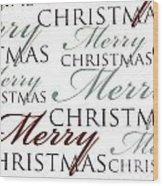 Merry Christmas Words Wood Print