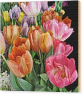 Merry Dresden Style Tulips Wood Print