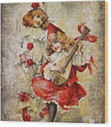 Merry Making Antique Girls In Red And White Grunge Wood Print