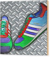 Metal Grate Sport Shoe Wood Print
