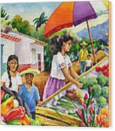 Mexican Marketplace Wood Print