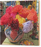 Mexican Paper Flowers And Talavera Pottery Wood Print