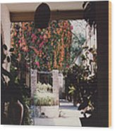 Mexico Garden Patio By Tom Ray Wood Print