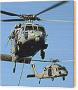 Mh-60s Sea Hawk Helicopters In Flight Wood Print