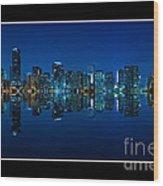 Miami Skyline Night Panorama Wood Print