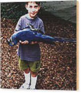 Michael And The Blue Macaw Wood Print