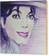 Michael Jackson - Purple Fedora Wood Print