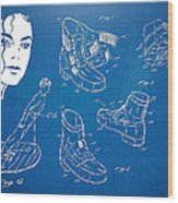 Michael Jackson Anti-gravity Shoe Patent Artwork Wood Print by Nikki Marie Smith