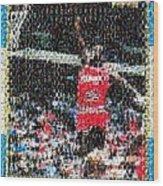 Michael Jordan Rookie Mosaic Wood Print by Paul Van Scott