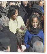 Michelle Obama And Daughters Malia Wood Print