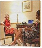 Michelle Obama And Dr. Jill Biden Wait Wood Print by Everett