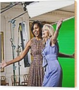 Michelle Obama And Jill Biden Joke Wood Print
