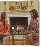 Michelle Obama And Queen Silvia Wood Print by Everett