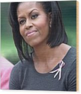 Michelle Obama At The Press Conference Wood Print