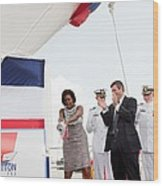 Michelle Obama Christens The Us Coast Wood Print