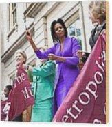 Michelle Obama Cuts The Ribbon Wood Print