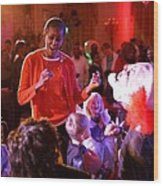 Michelle Obama Dancing With Children Wood Print