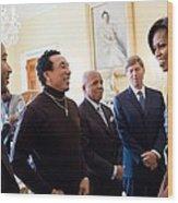 Michelle Obama Greets John Legend Wood Print