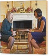 Michelle Obama Greets Mrs. Ada Wood Print