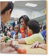 Michelle Obama Joins Students Wood Print by Everett