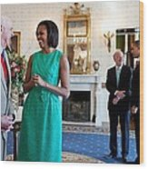 Michelle Obama Laughs With National Wood Print