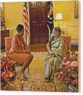 Michelle Obama Meets With Mrs Wood Print by Everett
