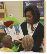 Michelle Obama Reads The Cat In The Hat Wood Print