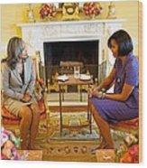 Michelle Obama Talks With Elizabeth Wood Print