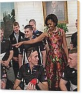 Michelle Obama Talks With Participants Wood Print