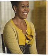 Michelle Obama Wearing A J. Crew Wood Print by Everett
