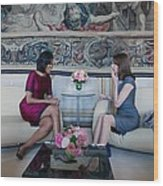 Michelle Obama With Carla Bruni-sarkozy Wood Print