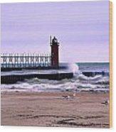 Michigan City Lighthouse Indiana Wood Print