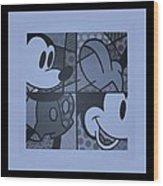 Mickey In Cyan Wood Print