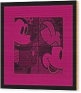 Mickey In Hot Pink Wood Print