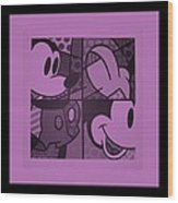 Mickey In Light Pink Wood Print
