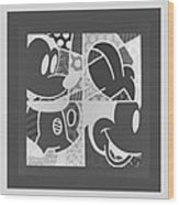 Mickey In Negative Black And White Wood Print