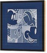 Mickey In Negative Deep  Blue Wood Print