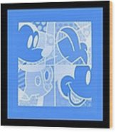 Mickey In Negative Light Blue Wood Print