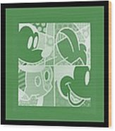 Mickey In Negative Olive Green Wood Print