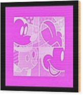 Mickey In Negative Pink Wood Print