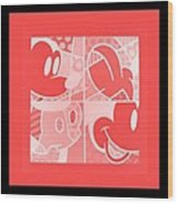 Mickey In Negative Red Wood Print