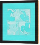 Mickey In Negative Turquois Wood Print