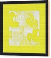 Mickey In Negative Yellow Wood Print