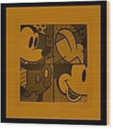 Mickey In Orange Wood Print