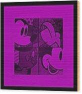 Mickey In Purple Wood Print