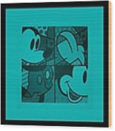 Mickey In Turquois Wood Print