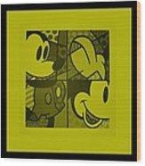 Mickey In Yellow Wood Print