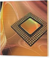 Microprocessor Chip, Artwork Wood Print