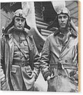 Mid-air Refueling Aviators At Rockwell Wood Print